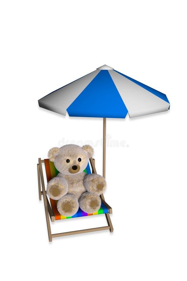 Το Teddy αφορά την καρέκλα παραλιών απεικόνιση αποθεμάτων