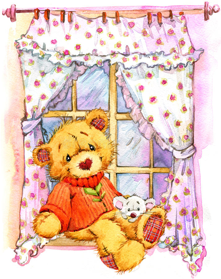 Το Teddy αφορά το παράθυρο η διακοσμητική εικόνα απεικόνισης πετάγματος ραμφών το κομμάτι εγγράφου της καταπίνει το watercolor διανυσματική απεικόνιση