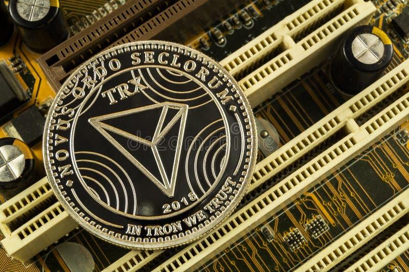 Το Tron είναι ένας σύγχρονος τρόπος της ανταλλαγής και αυτού του crypto νομίσματος στοκ φωτογραφίες