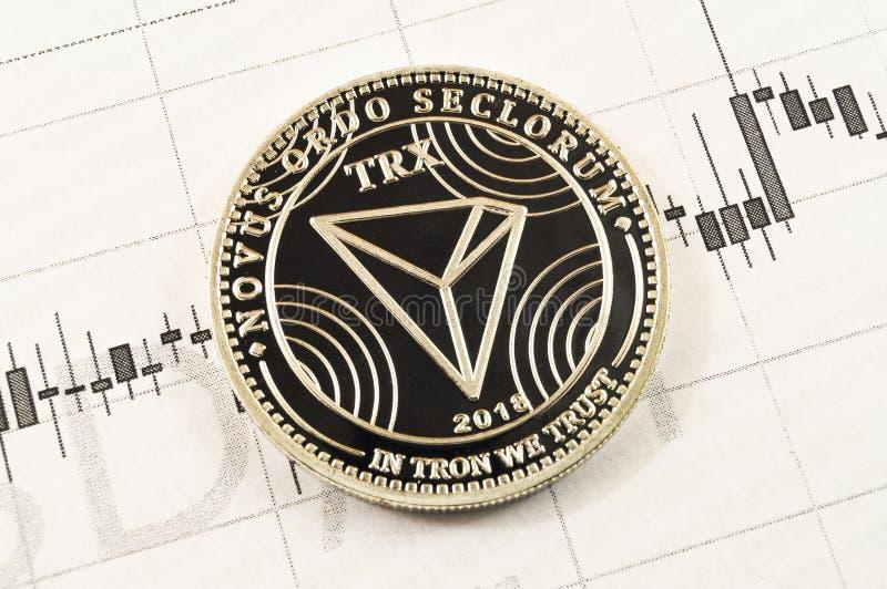Το Tron είναι ένας σύγχρονος τρόπος της ανταλλαγής και αυτού του crypto νομίσματος στοκ φωτογραφία