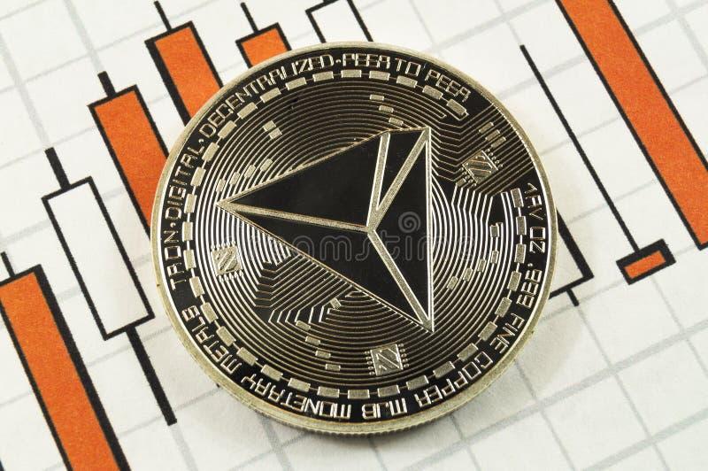 Το Tron είναι ένας σύγχρονος τρόπος της ανταλλαγής και αυτό το crypto νόμισμα είναι στοκ εικόνα