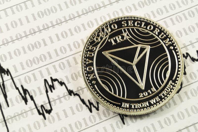 Το Tron είναι ένας σύγχρονος τρόπος της ανταλλαγής και αυτό το crypto νόμισμα είναι στοκ φωτογραφία