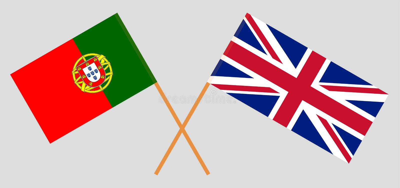 Το UK και Πορτογαλία Βρετανικές και πορτογαλικές σημαίες ελεύθερη απεικόνιση δικαιώματος