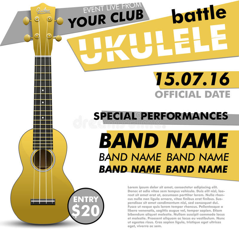 Το Ukulele παρουσιάζει αφίσα για σχεδίου σας μάχης τη ζωντανή συναυλίας ακουστική απόδοση γεγονότος φολκλορικής μουσικής ανεξάρτη διανυσματική απεικόνιση