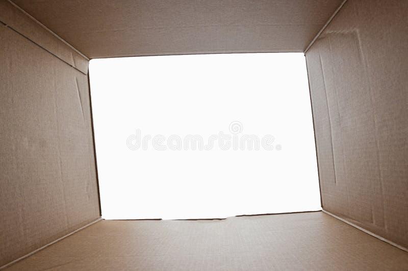 Το Unboxing, άνοιξε τη συσκευασία χαρτονιού από το βλαστό από μέσα από το κιβώτιο Η συσκευασία, παράδοση, έκπληξη, δώρο, τρόπος ζ στοκ φωτογραφία