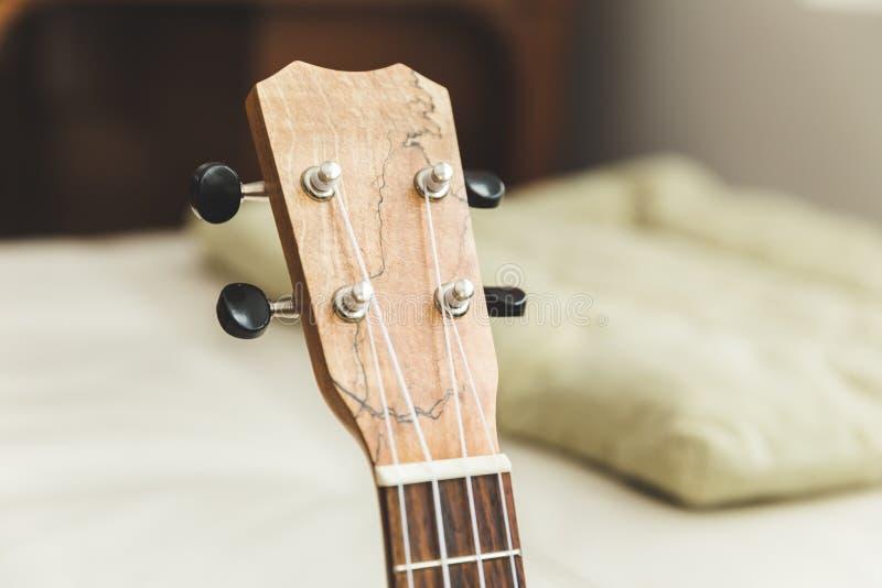 Το Upscale ukulele με woodgrain τελειώνει στοκ εικόνα