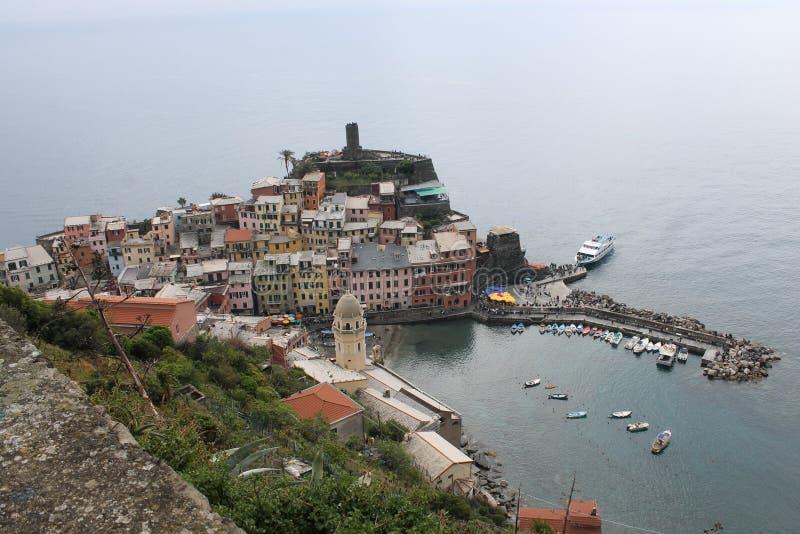 Το Vernazza είναι μια πόλη και τοποθετημένος στην επαρχία του Λα Spezia, Λιγυρία, βορειοδυτική Ιταλία στοκ εικόνα