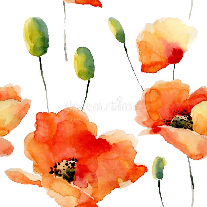 Το Watercolor ανθίζει το άνευ ραφής σχέδιο με τις παπαρούνες ελεύθερη απεικόνιση δικαιώματος