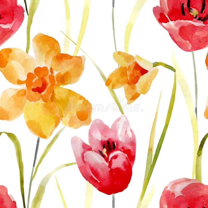 Το Watercolor ανθίζει το άνευ ραφής σχέδιο απεικόνιση αποθεμάτων