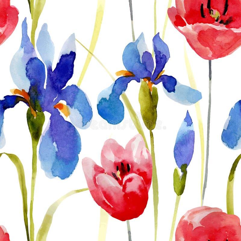 Το Watercolor ανθίζει το άνευ ραφής σχέδιο διανυσματική απεικόνιση