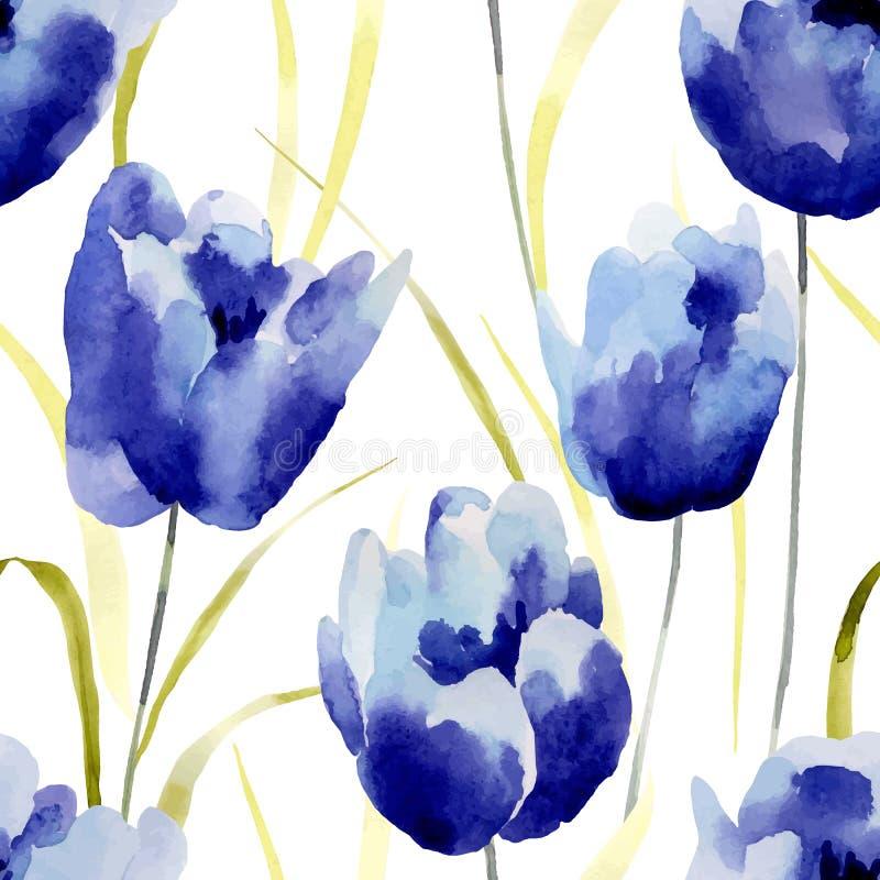 Το Watercolor ανθίζει το άνευ ραφής σχέδιο ελεύθερη απεικόνιση δικαιώματος