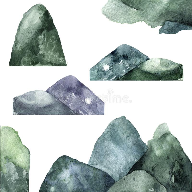 Το watercolor βουνών καταβρέχει σύστασης την πράσινη σχεδίων τέχνη συνδετήρων απεικόνισης γεωμετρική για τον εορτασμό τυπωμένων υ απεικόνιση αποθεμάτων