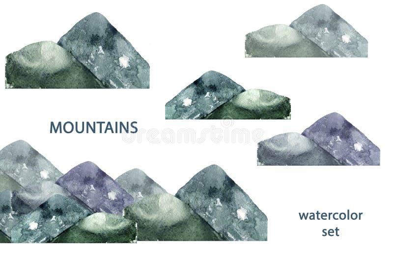 Το watercolor βουνών καταβρέχει σύστασης την πράσινη σχεδίων τέχνη συνδετήρων απεικόνισης γεωμετρική για τον ιματισμό εορτασμού τ διανυσματική απεικόνιση