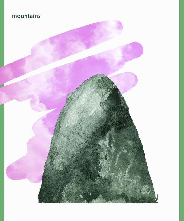 Το watercolor βουνών καταβρέχει σύστασης την πράσινη σχεδίων τέχνη συνδετήρων απεικόνισης γεωμετρική για τον ιματισμό εορτασμού τ ελεύθερη απεικόνιση δικαιώματος