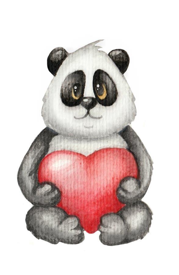 Το Watercolor η χαριτωμένη Panda αντέχει ερωτευμένο απεικόνιση αποθεμάτων