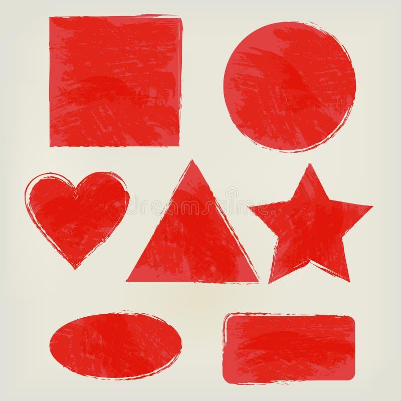 Το Watercolor διαμορφώνει το τρίγωνο παφλασμών, κύκλος, καρδιά, έλλειψη, ορθογώνιο, τετράγωνο, κόκκινο αστεριών Χρωματισμένα στοι διανυσματική απεικόνιση