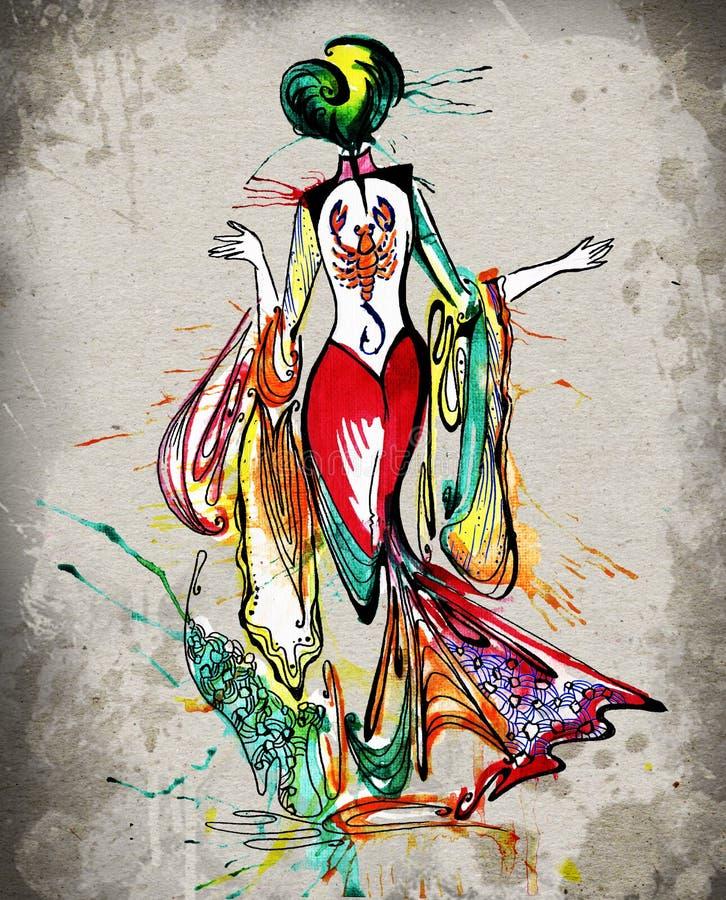 Το watercolor κοριτσιών ωροσκοπίων σκορπιών στοκ φωτογραφία με δικαίωμα ελεύθερης χρήσης