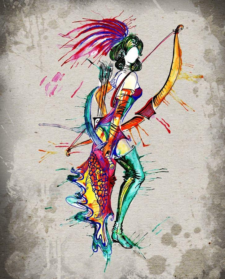 Το watercolor κοριτσιών ωροσκοπίων τοξοτών στοκ εικόνα
