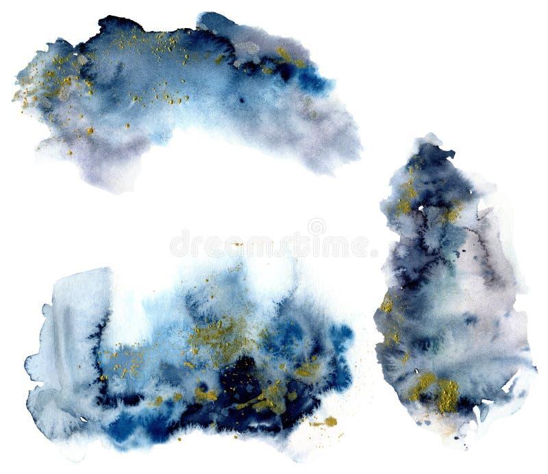 Το Watercolor που τίθενται με τον μπλε και γκρίζο παφλασμό και ο χρυσός ακτινοβολούν στο άσπρο υπόβαθρο Το ράντισμα χρώματος στο  διανυσματική απεικόνιση