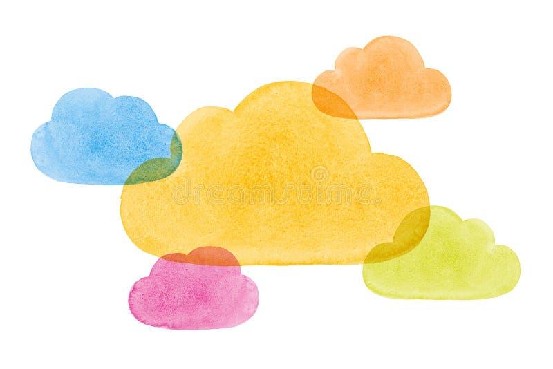 Το Watercolor χρωμάτισε τα κοινωνικά σύννεφα μπλε κιτρινοπράσινο pi δικτύωσης απεικόνιση αποθεμάτων