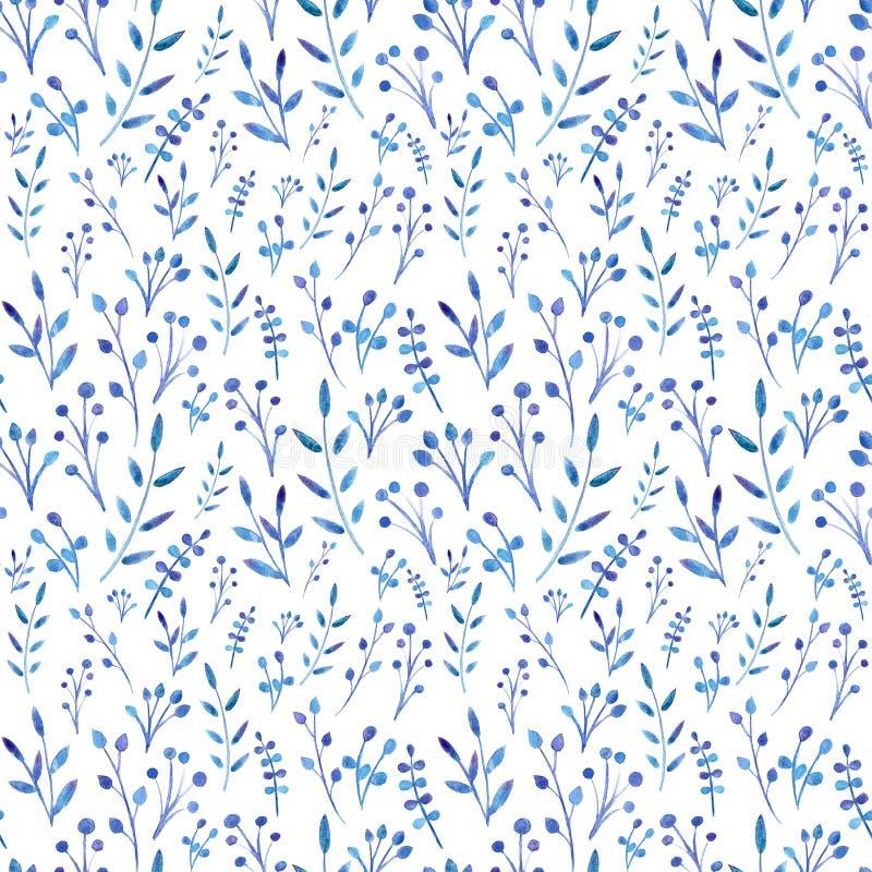 Το Watercolor χρωμάτισε τα μπλε φύλλα Το άνευ ραφής σχέδιο γεμίζει στοκ εικόνα με δικαίωμα ελεύθερης χρήσης