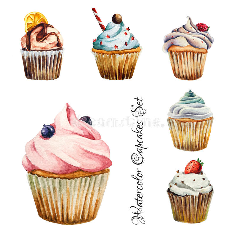 Το Watercolor cupcakes έθεσε, απομονωμένος ελεύθερη απεικόνιση δικαιώματος