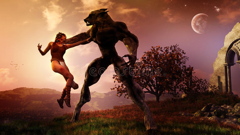 Το Werewolf συλλαμβάνει τη γυναίκα απεικόνιση αποθεμάτων