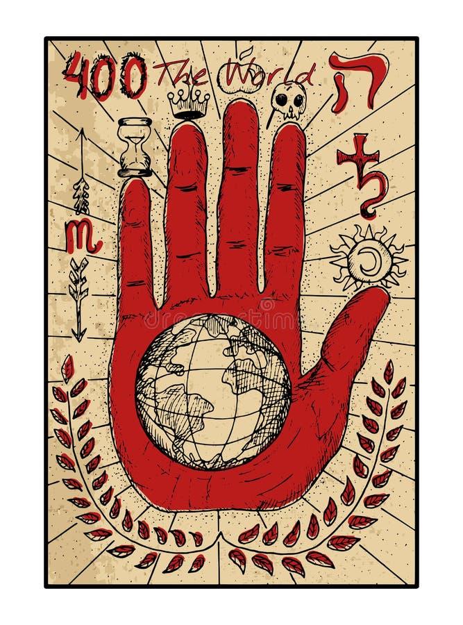 Το Wolrd Η κάρτα tarot ελεύθερη απεικόνιση δικαιώματος