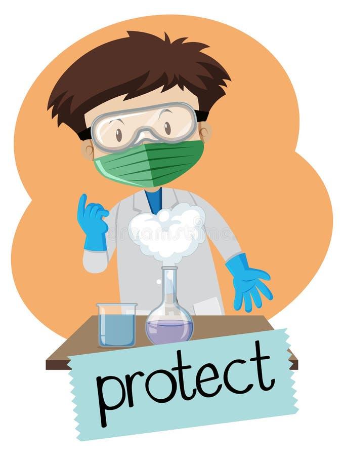 Το Wordcard για προστατεύει με το αγόρι που φορά τα στοιχεία προστασίας στο εργαστήριο απεικόνιση αποθεμάτων