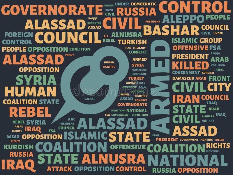 Το Wordcloud με την κύρια λέξη όπλισε και σύνδεσε τις λέξεις, αφηρημένη απεικόνιση διανυσματική απεικόνιση