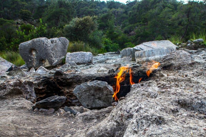 Το Yanartas που καίει τις πέτρες είναι ένα γεωγραφικό χαρακτηριστικό γνώρισμα κοντά στην κοιλάδα Olympos και εθνικό πάρκο σε Anta στοκ εικόνες