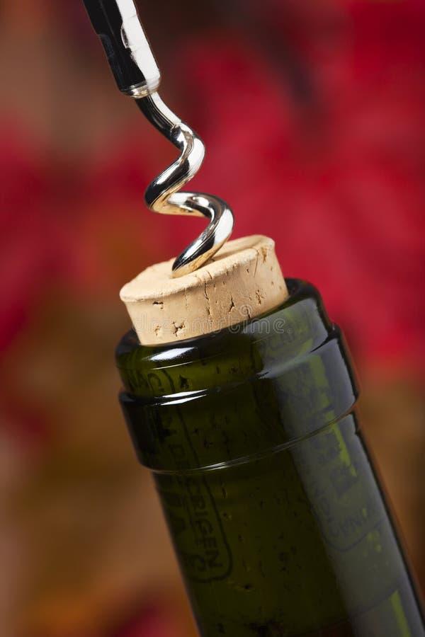 Τράβηγμα ενός φελλού από ένα μπουκάλι κρασιού στοκ φωτογραφίες με δικαίωμα ελεύθερης χρήσης