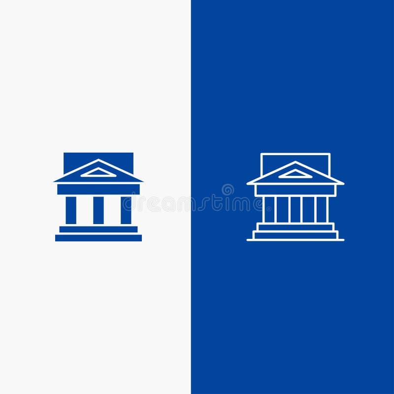 Τράπεζα, αρχιτεκτονική, κτήριο, δικαστήριο, κτήμα, κυβέρνηση, σπίτι, γραμμή ιδιοκτησίας και στερεό Glyph εμβλημάτων εικονιδίων Gl απεικόνιση αποθεμάτων