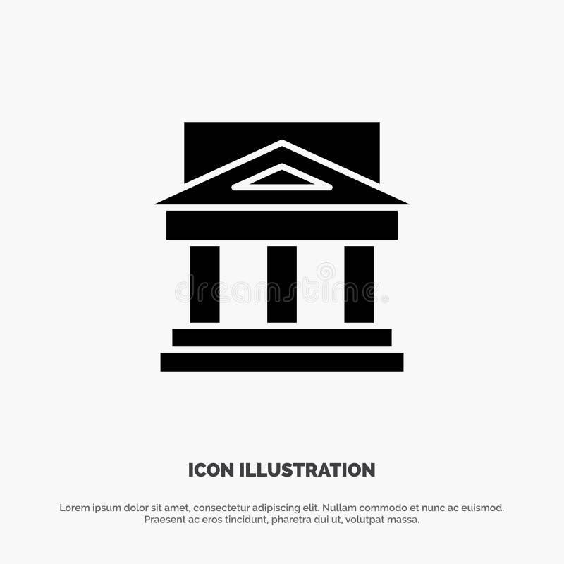 Τράπεζα, αρχιτεκτονική, κτήριο, δικαστήριο, κτήμα, κυβέρνηση, σπίτι, στερεό διάνυσμα εικονιδίων Glyph ιδιοκτησίας ελεύθερη απεικόνιση δικαιώματος