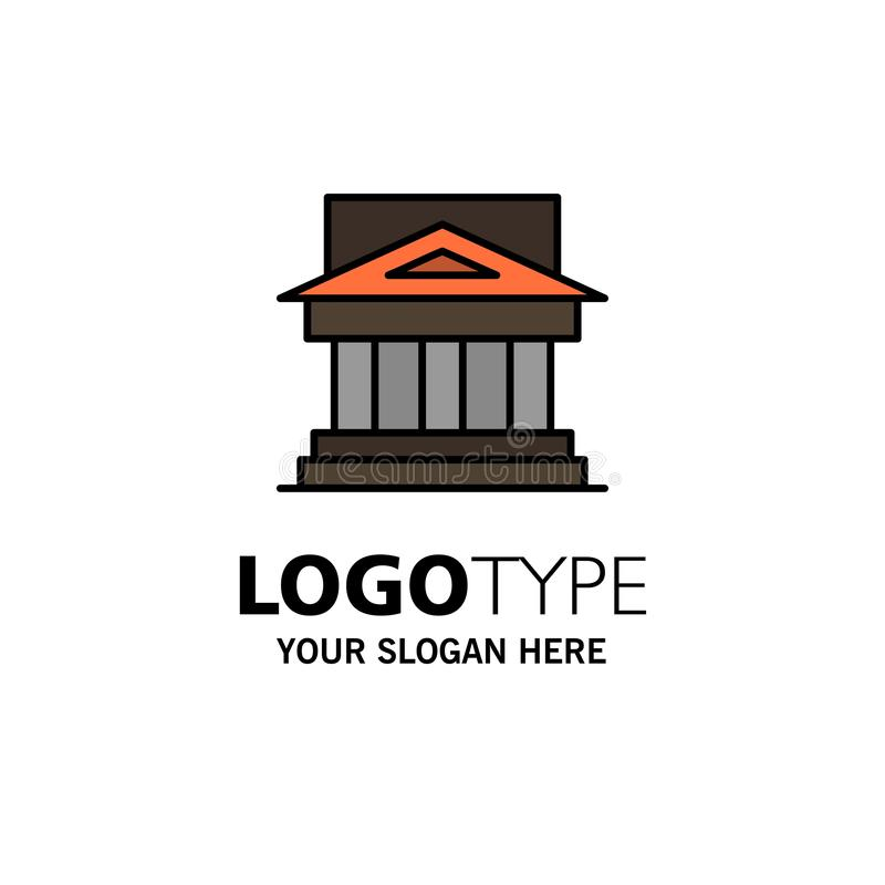 Τράπεζα, αρχιτεκτονική, κτήριο, δικαστήριο, κτήμα, κυβέρνηση, σπίτι, πρότυπο επιχειρησιακών λογότυπων ιδιοκτησίας Επίπεδο χρώμα διανυσματική απεικόνιση
