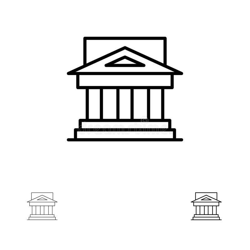 Τράπεζα, αρχιτεκτονική, κτήριο, δικαστήριο, κτήμα, κυβέρνηση, σπίτι, τολμηρό και λεπτό μαύρο σύνολο εικονιδίων γραμμών ιδιοκτησία ελεύθερη απεικόνιση δικαιώματος