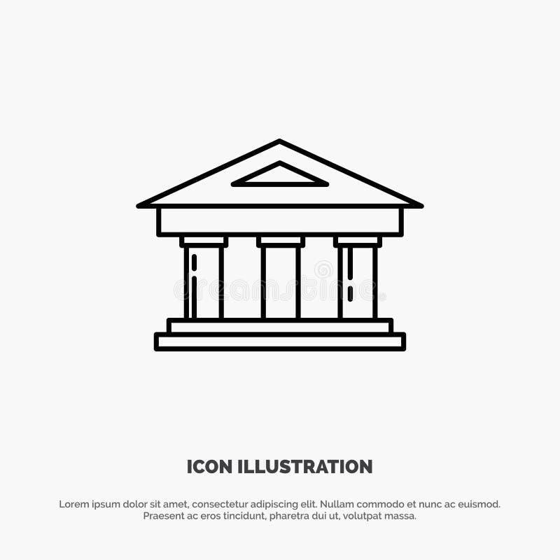 Τράπεζα, δικαστήριο, χρηματοδότηση, χρηματοδότηση, διάνυσμα εικονιδίων γραμμών κτηρίου απεικόνιση αποθεμάτων
