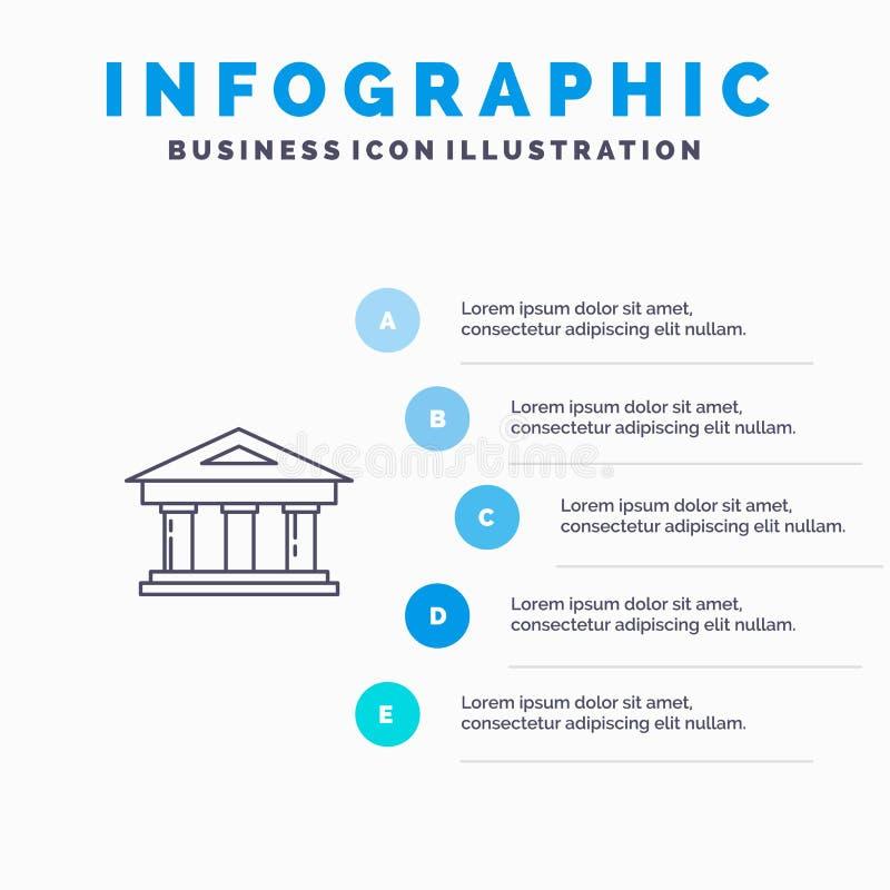 Τράπεζα, δικαστήριο, χρηματοδότηση, χρηματοδότηση, εικονίδιο γραμμών κτηρίου με το υπόβαθρο infographics παρουσίασης 5 βημάτων διανυσματική απεικόνιση