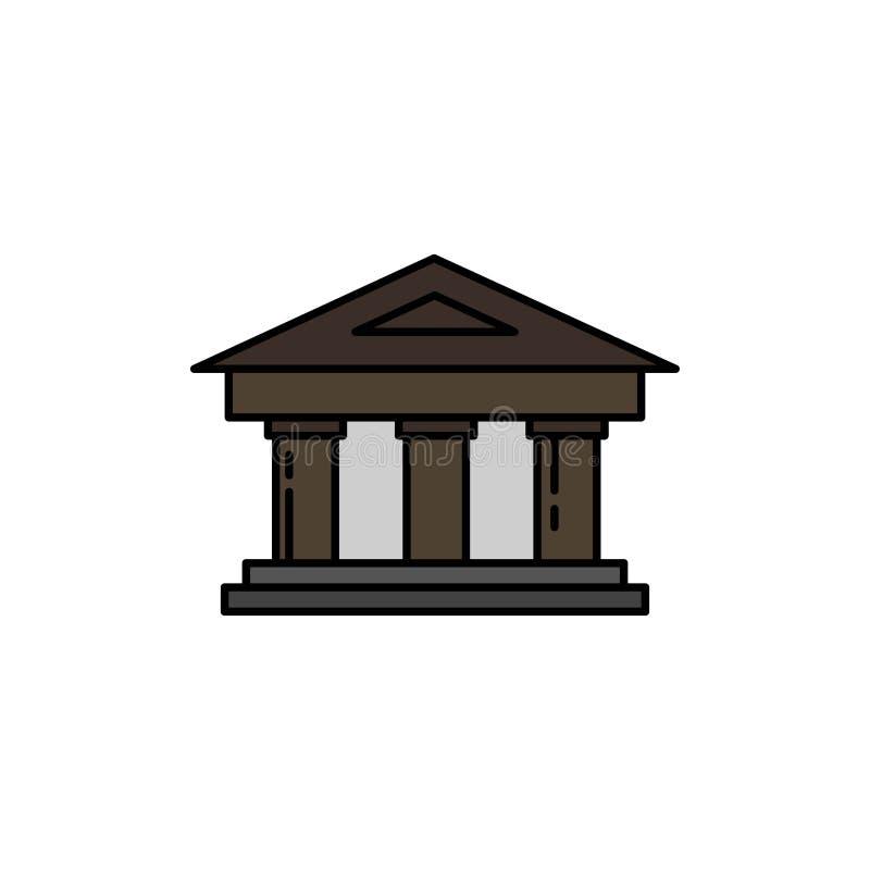 Τράπεζα, δικαστήριο, χρηματοδότηση, χρηματοδότηση, εικονίδιο χρώματος οικοδόμησης επίπεδο Διανυσματικό πρότυπο εμβλημάτων εικονιδ ελεύθερη απεικόνιση δικαιώματος