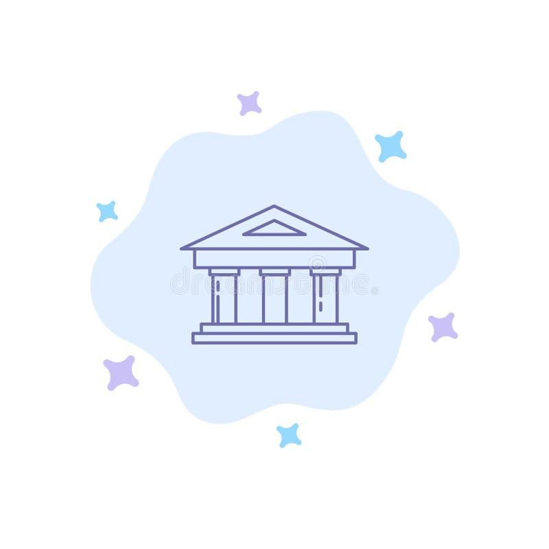 Τράπεζα, δικαστήριο, χρηματοδότηση, χρηματοδότηση, μπλε εικονίδιο οικοδόμησης στο αφηρημένο υπόβαθρο σύννεφων διανυσματική απεικόνιση