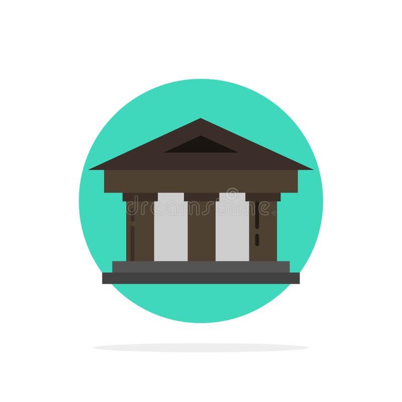 Τράπεζα, δικαστήριο, χρηματοδότηση, χρηματοδότηση, οικοδόμησης αφηρημένο κύκλων εικονίδιο χρώματος υποβάθρου επίπεδο διανυσματική απεικόνιση