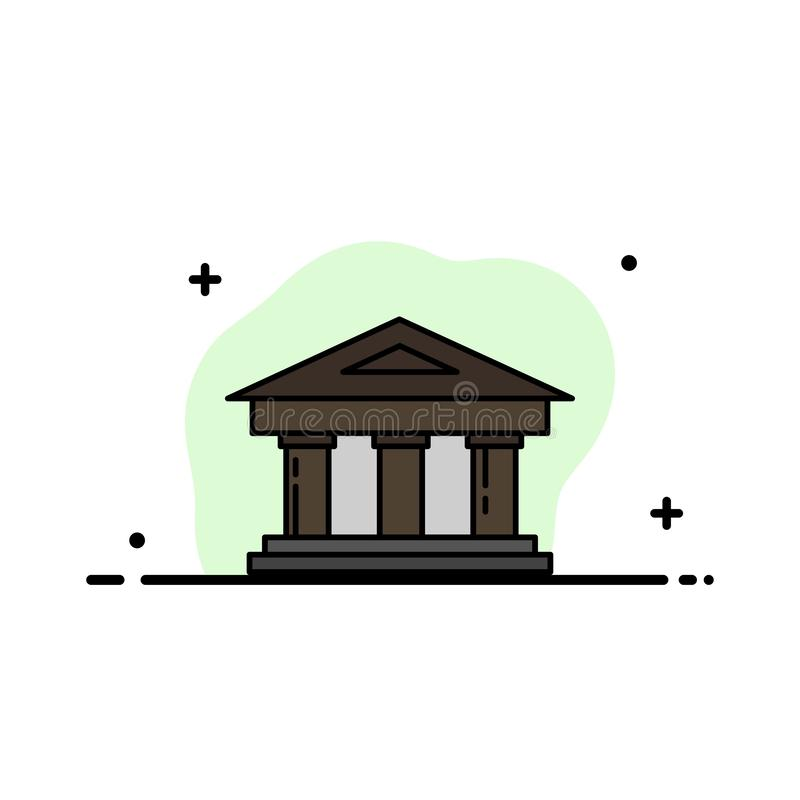 Τράπεζα, δικαστήριο, χρηματοδότηση, χρηματοδότηση, οικοδόμησης πρότυπο εμβλημάτων επιχειρησιακών επίπεδο γεμισμένο γραμμή εικονιδ ελεύθερη απεικόνιση δικαιώματος