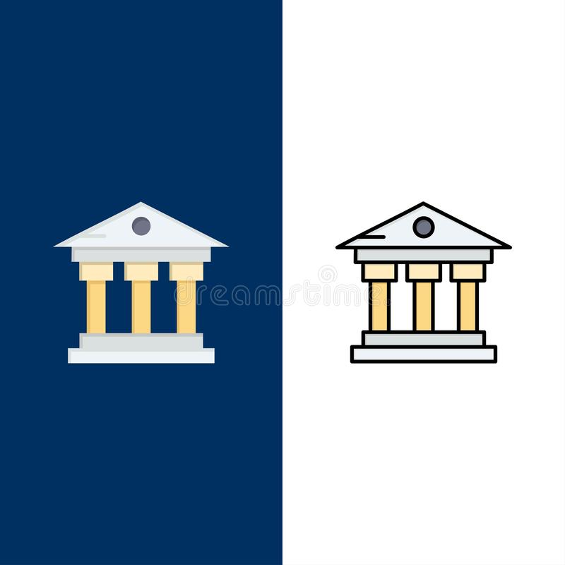 Τράπεζα, κτήριο, χρήματα, εικονίδια υπηρεσιών Επίπεδος και γραμμή γέμισε το καθορισμένο διανυσματικό μπλε υπόβαθρο εικονιδίων διανυσματική απεικόνιση