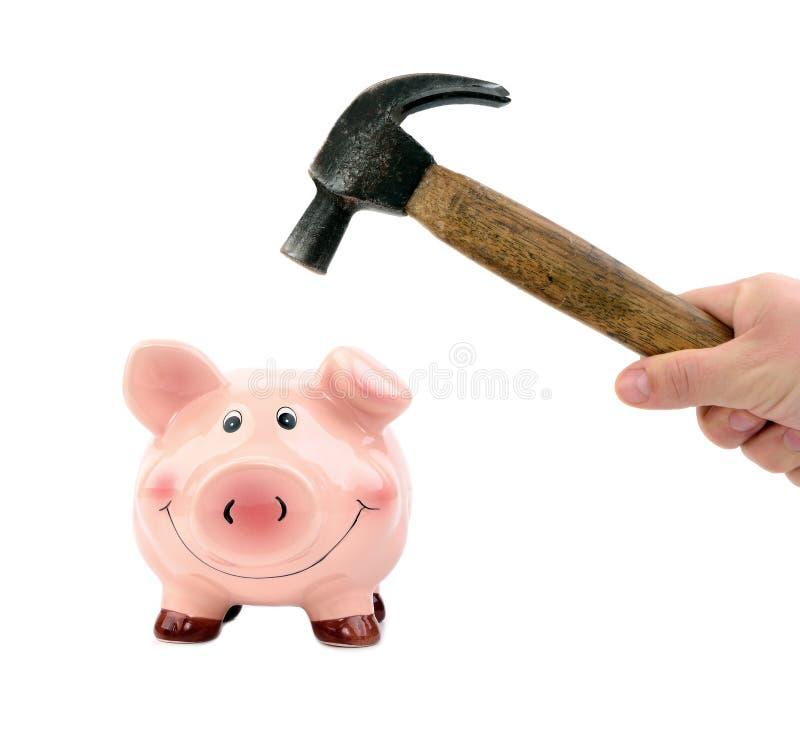 Τράπεζα Piggy και ένα σφυρί στοκ εικόνα με δικαίωμα ελεύθερης χρήσης