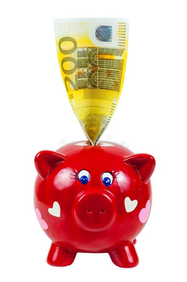 Τράπεζα Piggy και ευρο- τραπεζογραμμάτιο 200 στοκ εικόνα