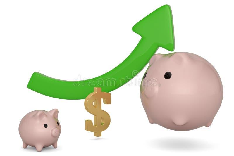 Τράπεζα Piggy και πράσινο βέλος που απομονώνονται στο άσπρο υπόβαθρο r ελεύθερη απεικόνιση δικαιώματος