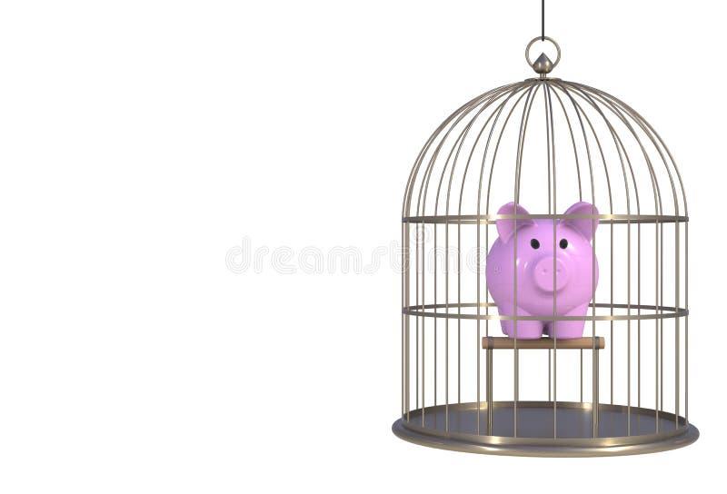 Τράπεζα Piggy μέσα στο κλουβί πουλιών που απομονώνεται στο άσπρο υπόβαθρο διανυσματική απεικόνιση