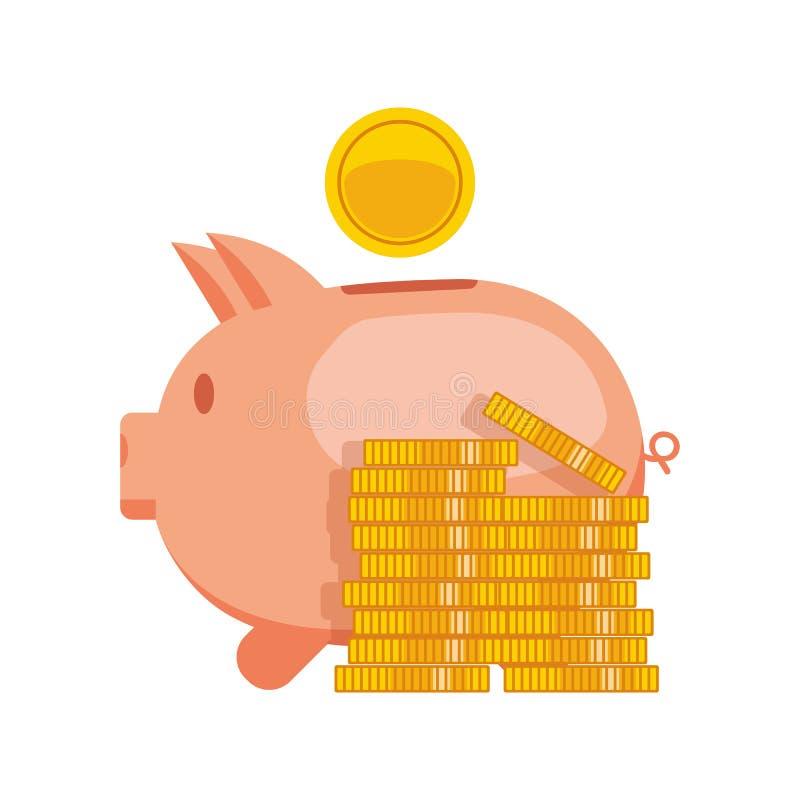 Τράπεζα Piggy με τη διανυσματική απεικόνιση νομισμάτων Αποταμίευση εικονιδίων ή συσσώρευση των χρημάτων, επένδυση Piggy τράπεζα ε απεικόνιση αποθεμάτων