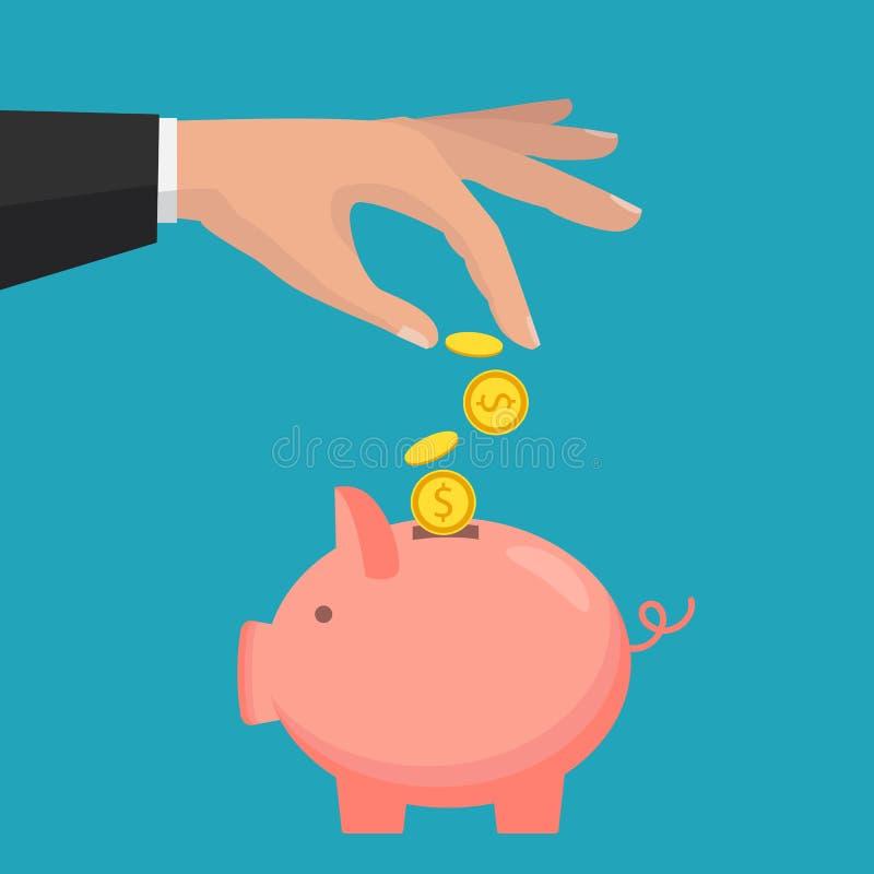 Τράπεζα Piggy με το εικονίδιο νομισμάτων, απομονωμένο επίπεδο ύφος ελεύθερη απεικόνιση δικαιώματος