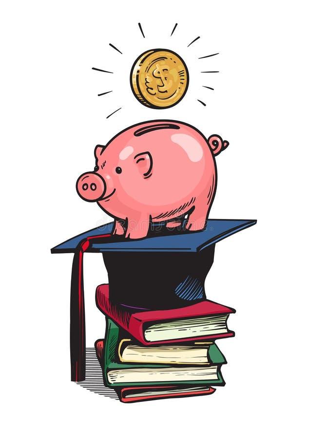 Τράπεζα Piggy με το καπέλο βαθμολόγησης διανυσματική απεικόνιση
